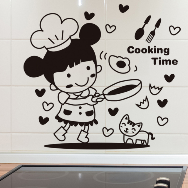 Creative Cute Kitchen Tile Glass Stickers Removable Wall Stickers Fridge  Stickers Door Decoration Little Chef Kitchen