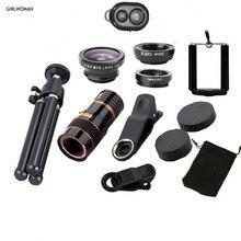 Girlwoman teléfono 12X zoom para smartphone trípode para cámara de teléfono  lente macro ojo de pez gran angular lentes para celu. 92769f3c26