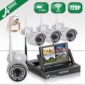 Anran nvr 4ch 7 polegada tela de lcd sem fio wifi cctv Kit 720 P HD de Vigilância de Segurança Ao Ar Livre Sistema de Câmera de 1 TB HDD selecionável