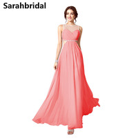 Coral Long Chiffon Evening Gowns 2017 Sheer Jewel Neck Backless A Line Party Prom Dresses Floor