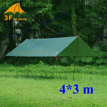 Anti UV ultralight 3F UL Gear 4*3m 210T silver coating outdoor large tarp shelter high quality beach awning sun shelter tent 3f ul gear 4x3m silver coating flysheet waterproof sunscreen 210t taffeta hanging tarp tent beach canopy