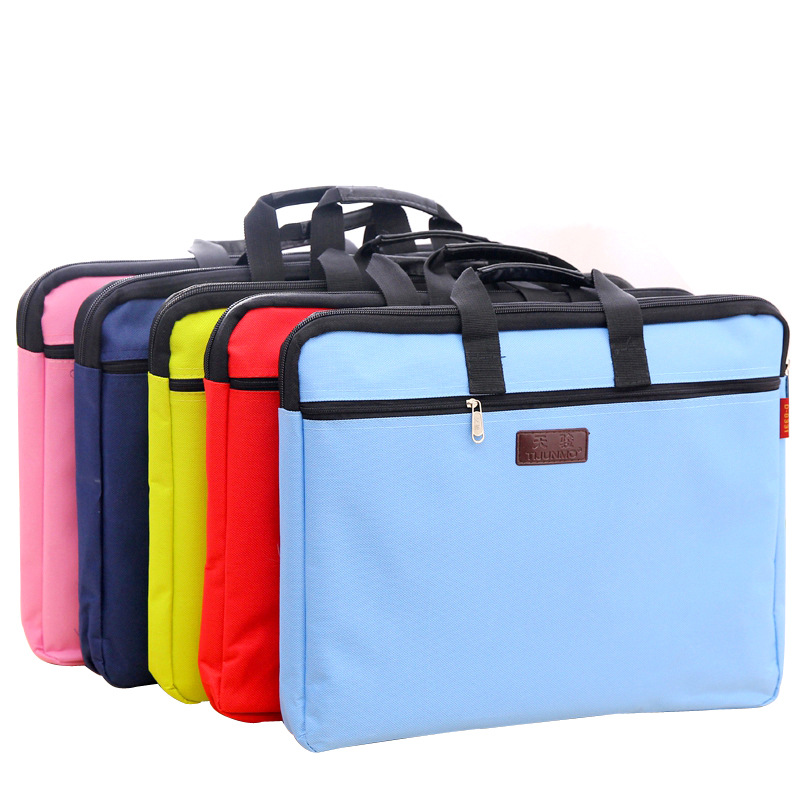 A4 Portable Briefcase Zipper Canvas Paper Folder For Document  Double Layer Fillings Computer Holder Filling Office Bag