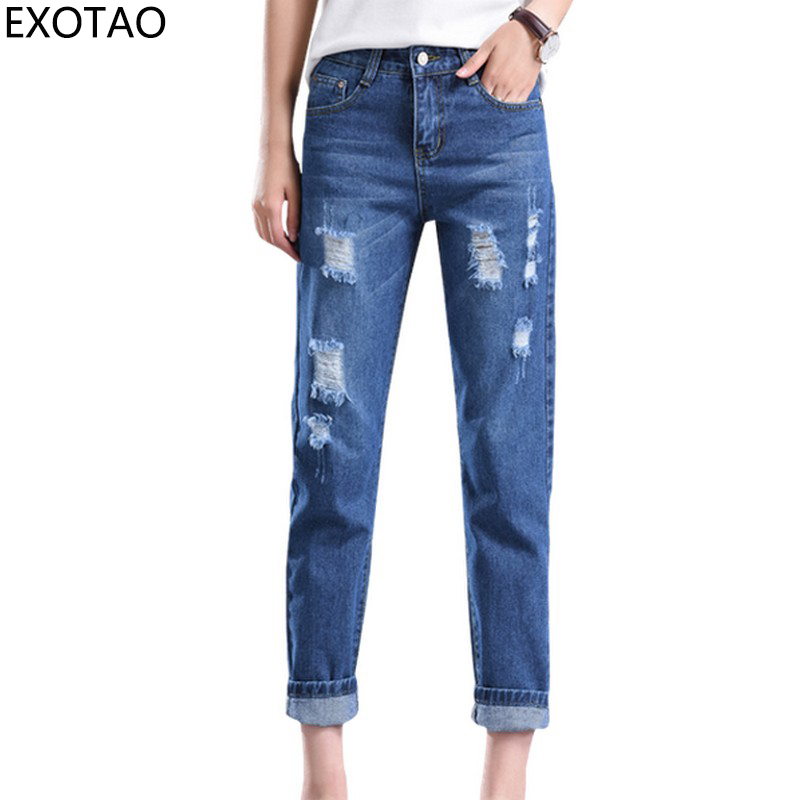 EXOTAO New Solid Female Jeans Summer Hole Pantalones Mujer Loose Ankle-length Women Jeans Slim Korean Style Harem Pants