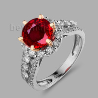 Vintage Jewelry Round 7mm Multi Tone Gold 18k Rose&White Gold Genuine Ruby Ring Dia Jewelry SR10