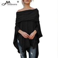 Avodovama M New Women S Casual Solid Off Shoulder Slash Neck Batwing Sleeve Shirt Loose Irregular