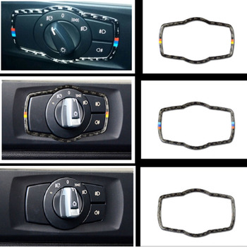 For BMW E90 E92 E93 2005-2012Interior Carbon Fiber Headlight Switch Buttons Cover Trim Car Styling Stickers 3 Series Accessories image
