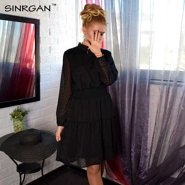 SINRGAN Black lace up hollow out mini dress women vestidos Long sleeve elastic waist party dress 4
