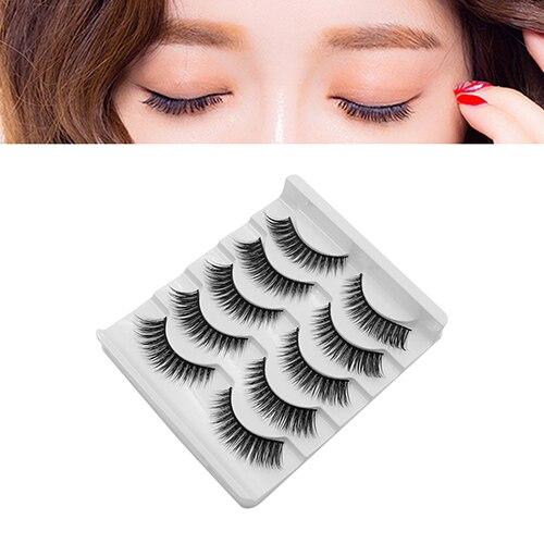 5 Pairs False Eyelashes Luxury Makeup 3D False Eyelashes Cross Natural Long Eye Lashes For Beautiful Women Faux Cils