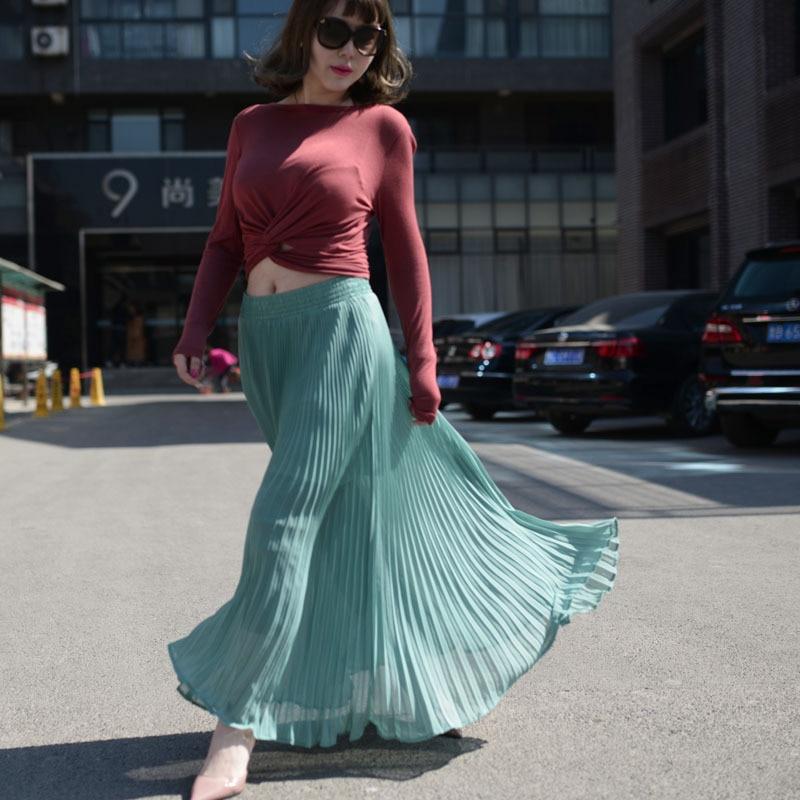 Šifón Vogue Green Vysoký pas Party Nošení Maxi Dámské Sukně Nový Styl Dámské Horký Výprodej Dámské Dlouhé Letní Sukně