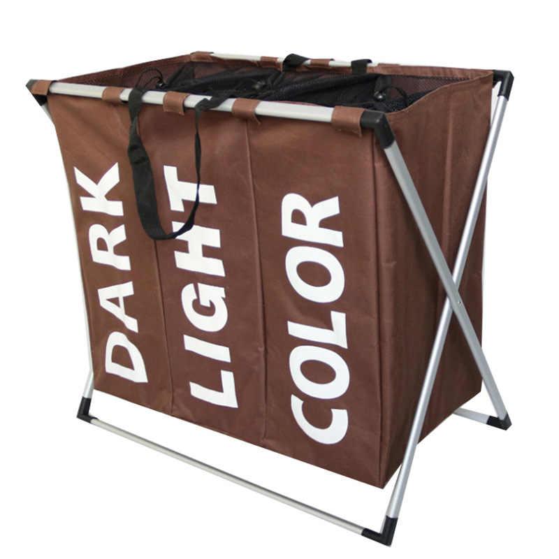 À prova d' água Oxford cesta cesta de lavanderia Separada toilettas dificultar 3 grades Ambientalmente Dobrável Oxford saco De roupa de Armazenamento