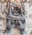 New Baby Girls Boys Kids Cat Sweatershirt Sweater+Pants Outfits Clothes Sets Grey Color