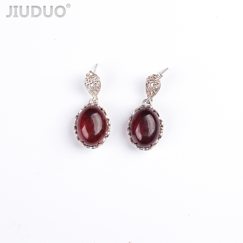 JIUDUO Authentic amber earrings female models 925 sterling silver high-end ladies earrings amber earrings for women blood po earrings sterling silver egg shaped amber factory price authentic fidelity page 1