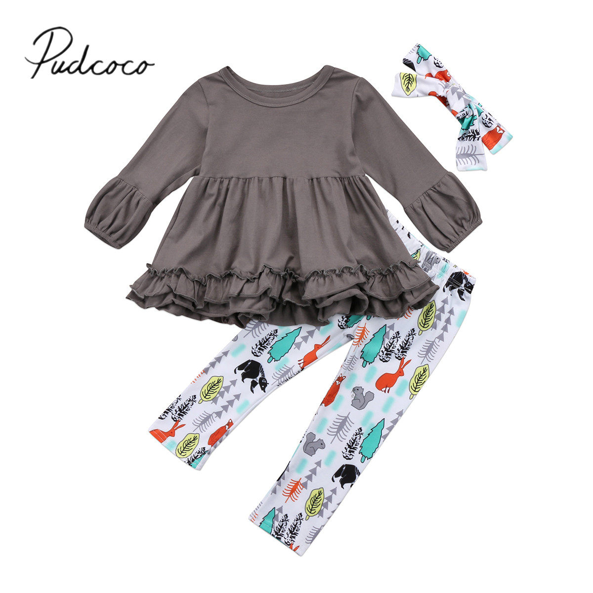2018 Brand New Tpddler Infant Child Kids Baby Girl Ruffled Top Dress Floral Pants Leggings Headband 3Pcs Outfits Set Kid Clothes