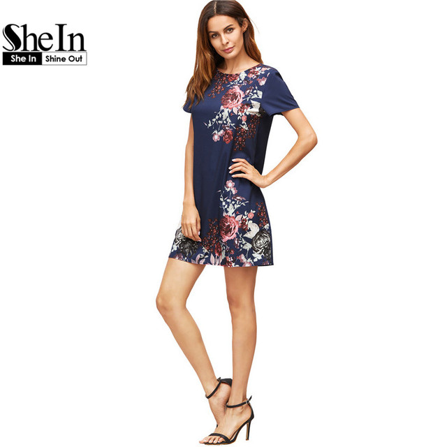 SheIn Summer Dresses Casual Womens Boho Dresses New Arrival 2017 Royal Blue Aztec Print Short Sleeve Floral Shift Dress
