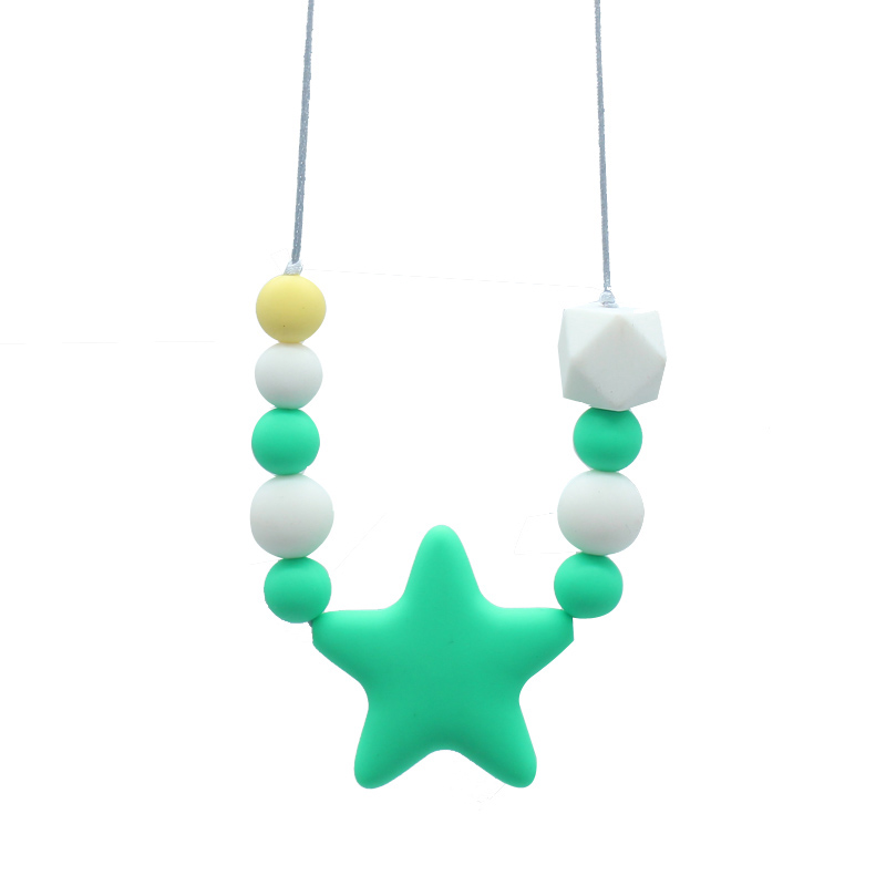 Silicone Beads Teething Necklace Nursing Silicone Teether Sensory Necklace Bite Boys Girl Chew Necklace