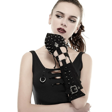 One Piece Steampunk Gloves Women Handsome Cross Spike Gloves Black Color Skull Decorated Fingerless Mittens With Rivets