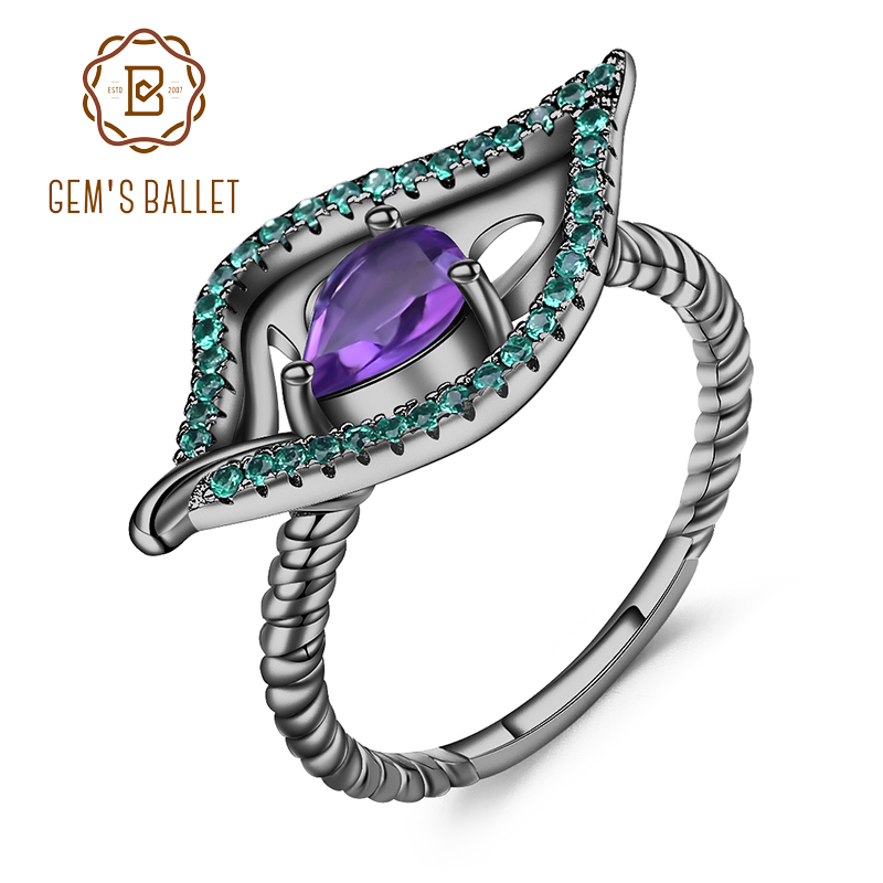 GEM'S BALLET 0.70Ct Natural Purple Amethyst Gemstone Leaf Shape Ring 925 Sterling Sliver Neo-Gothic Rings For Women Fine Jewelry