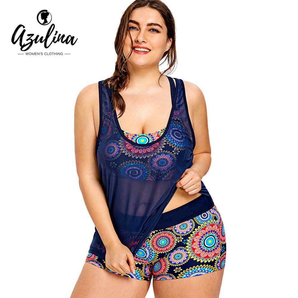 6df706767fc76 Rosegal Plus Size Printed Beachwear With Mesh Tank Top Summer Beach Women  Set Bathing Suit Elastic