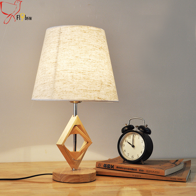 Modern Chinese Style Solid Wood Table Lamp Nordic Retro Creative Oak