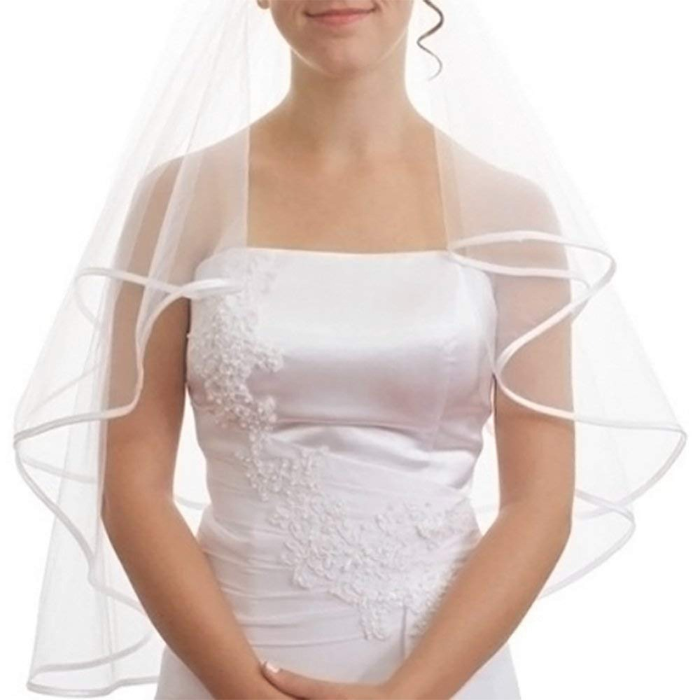 Romad Simple Tulle White Ivory Two Layers Wedding Veils Ribbon Edge Comb Cheap Wedding Accessories Short Bridal Veil R4 Bridal Veils Weddings & Events