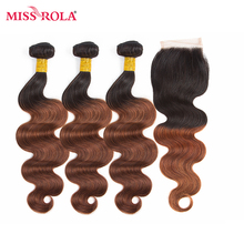 Miss Rola Hair Pre-colord Mongolian Body Wave Hair Weaving 3 Bundles With Closure #T1B/33 Color  Human Non-Remy Hair Extension