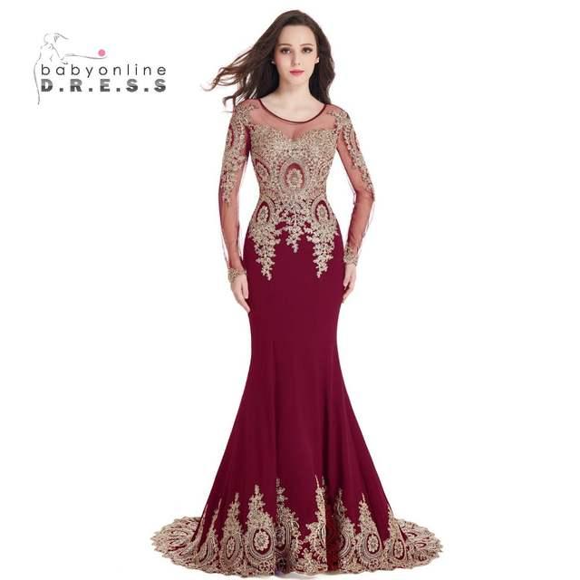 Online Shop Sexy O-neck Black Mermaid Gold Lace Evening Dresses 2019 Long  Sleeve Dubai Kaftan Formal Dress Sexy Sheer Back robe de soiree  7096a9c74caf