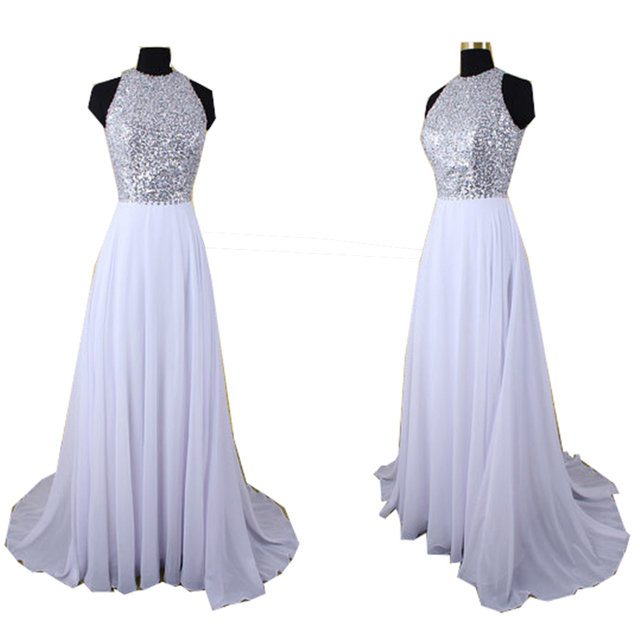 Long Elegant Prom Dresses White Chiffon Gown Crystals Shiny Teenagers Formal  Party Wear Open Back Evening Pageant Party Dress b961bc868907