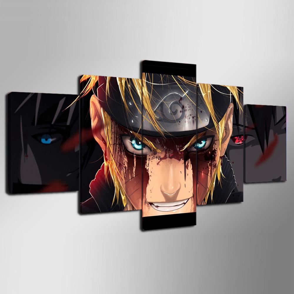 Tableau naruto 6 Affiches sur toile d coration de maison Cadre moderne 5 panneaux personnage Naruto Art mural de