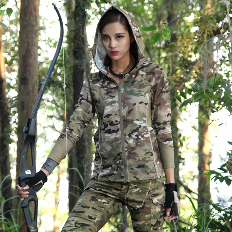 Woman Camouflage T-shirts Army Camouflage Tactical T Shirt Military Long Sleeve T-Shirt Hunting Print T-shirts