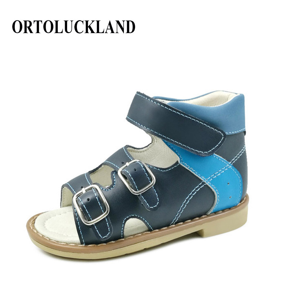 2019 genuine leather kids shoes sandals for boy children orthopedic footwear baby buckle strap orthopedic sandals
