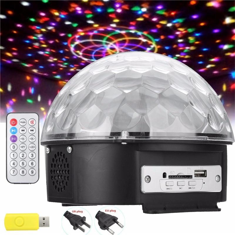 Bluetooth MP3 Stage Laser Light Crystal Magic Ball Disco DJ Bar Bulb Decor Lighting + USB Disk + Remote Controller