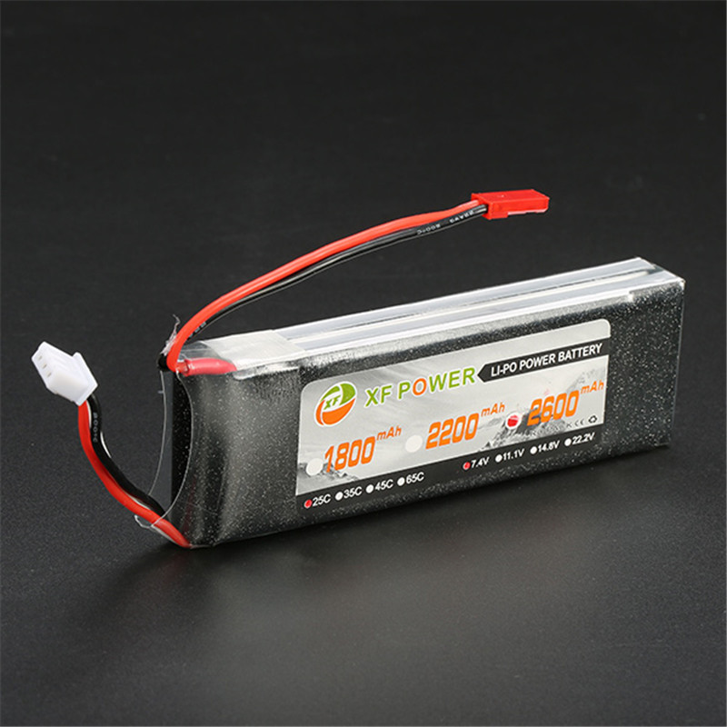 Rechargeable Lipo Battery XF Power 7.4V 2600mAh 2S 25C Lipo Battery JST Plug For RC Multicopter Quadcopter Helicopter Parts 2017 new rechargeable zop power 7 4v 800mah 2s 25c lipo battery jst plug for rc toys models helicopter quadcopter