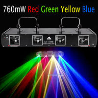 760mW 4 Lens Red Green Yellow Blue Stage DJ Laser Disco 4 Beam Light Auto/DMX512