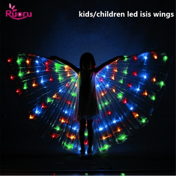 Ruoru Child Led Isis Wings with Stick Belly Dance Accessories Kids girls white Stage Performance Props