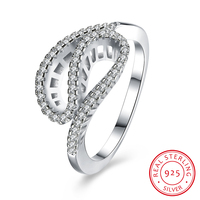 Stylish Twist Design 925 Sterling Silver Rings For Women Fashion Jewelry With Cubic Zirconia Crystal Party