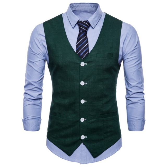 FFXZSJMens Slim Fit Single Breasted Suit Vest 2018 Brand New Formal Dress Business Wedding Vest Waistcoat Men Solid Color Gilet
