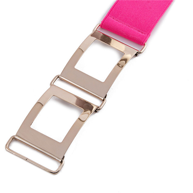 Women's Elastic Belt with Silver Triple Square Clasp