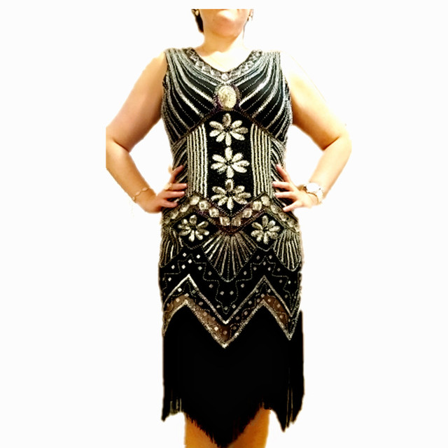 218e4a5639b 2019 1920s Great Gatsby Dress Sequin Beading V Neck Tassel Flapper Dress  Black Party Long Women s