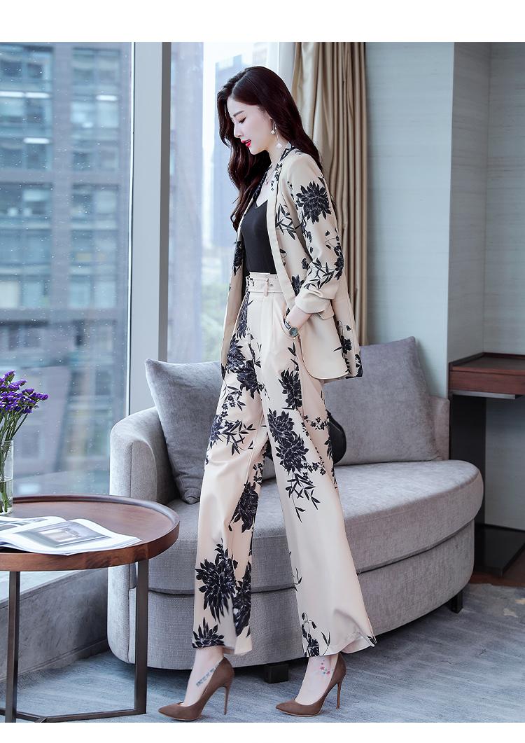 YASUGUOJI New 2019 Spring Fashion Floral Print Pants Suits Elegant Woman Wide-leg Trouser Suits Set 2 Pieces Pantsuit Women 18