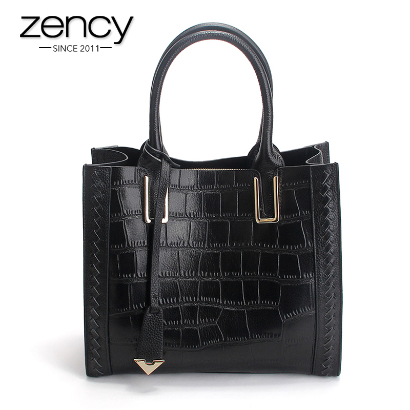 Zency Crocodile Alligator Pattern Fashion Women Tote Bag 100% Genuine Leather Office Lady Handbag Shoulder Messenger Bags Black