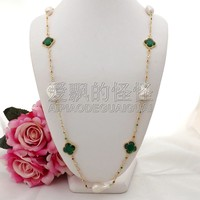 N090603 37'' White Keshi Pearl Green Crystal Cz pave Chain Necklace