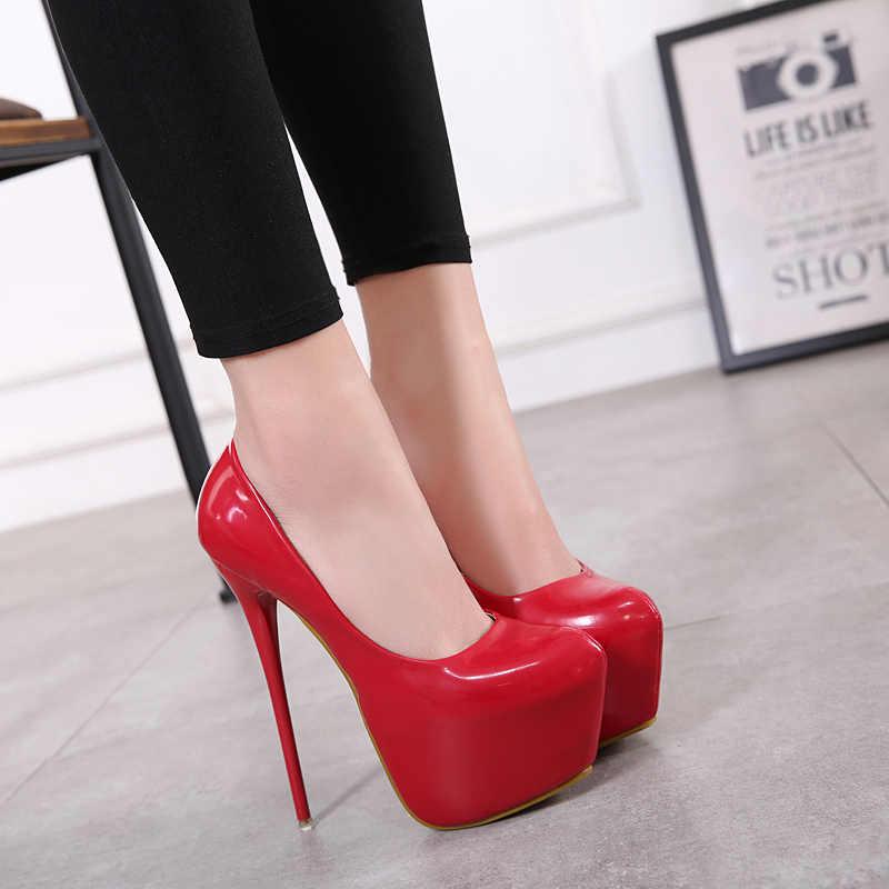 2019 Ilkbahar/Sonbahar Moda Pompaları Ayakkabı Kadın Yüksek Topuklu Pompalar 16 cm platform ayakkabılar Seksi Düğün Ayakkabı