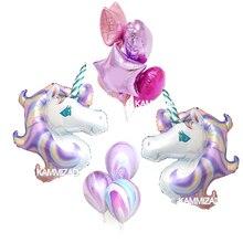 mixed 1set Rainbow Unicorn helium Foil Balloons big horse ballons 18inch star heart latex gobos for wedding birthday party decor