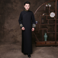 Black Groomsman Chinese Wedding Cheongsam Traditional Style groom best man Evening Dress Long Gown Qipao Mens Size S XL