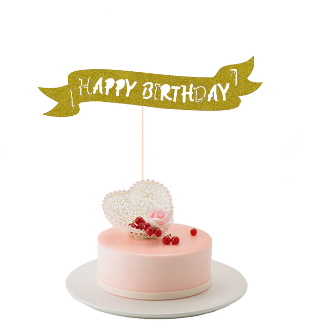 1pc Gold Happy Birthday Cupcake Cake Topper DIY Gift Cake Flags