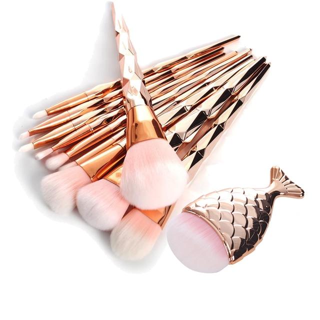 11 sztuk syrenka ogon ryby w kształcie róża diamentowa złoty pędzel do makijażu zestaw fundacja Powder pędzel kosmetyczny Rainbow pędzle do cieni do powiek 30