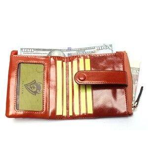 Image 5 - Женский кошелек из натуральной кожи, маленький держатель для карт, дамские Короткие Бумажники на застежке из вощеной масляной кожи, сумочка для мелочи