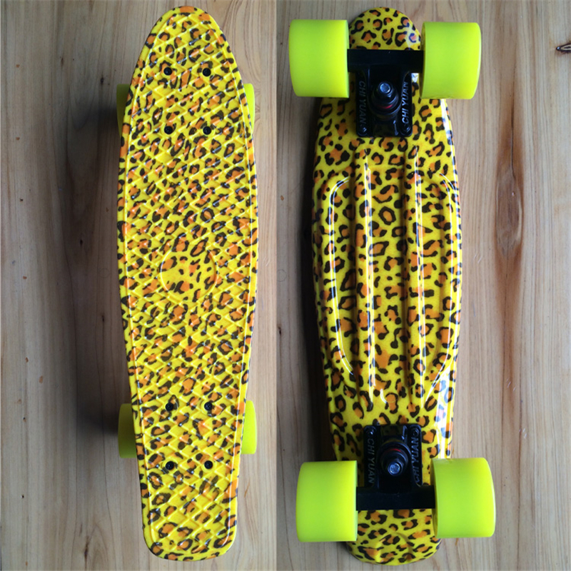 Leopard Graphic Printed Mini Cruiser Plastic Skateboard 22 X 6 Retro Longboard Skate Long Board 6 5 adult electric scooter hoverboard skateboard overboard smart balance skateboard balance board giroskuter or oxboard