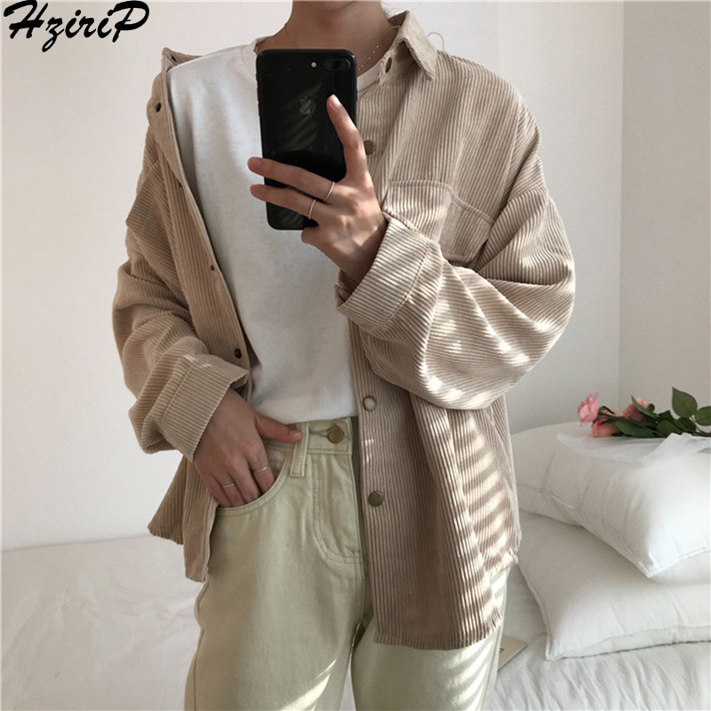 Hzirip 2019 Spring Autumn New Fashion Coat Vintage Stylish Simple Single Breasted Casual Solid All-Match Outerwear Thick Loose