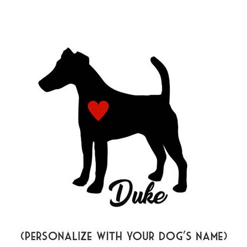 Özel Isim Tilki Terrier Çıkartmaları Ile Kişiselleştirin Köpek Adı duvar çıkartmaları Ile Evde Beslenen Hayvan Köpek Kırmızı Kalp Çıkartma sanatsal fresk L167
